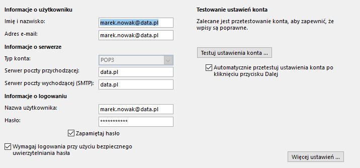 Outlook - Plik - Ustawienia kont - Napraw - Automatyczne konfigurowanie konta - Ustawienia - Wprowadź zmiany w nazwach portów poczty przychodzącej i wychodzącej oraz numerach portów