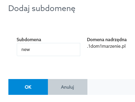 add subdomain in Control Panel