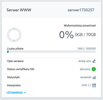 Panel Klienta home.pl - Usługi WWW - Wybrana usługa - Serwer WWW - Opis serwera - Kliknij przycisk Dodaj opis