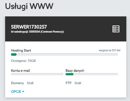 Panel klienta home.pl - Usługi WWW - Przykładowy opis serwera przy wybranej nazwie usługi home.pl