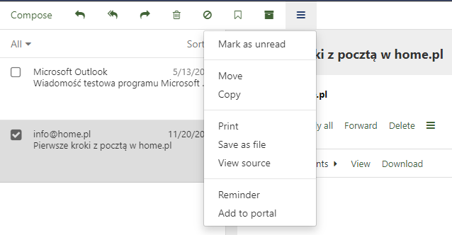 Mail home.pl - Message - Action menu - Click Move to move the message to another folder
