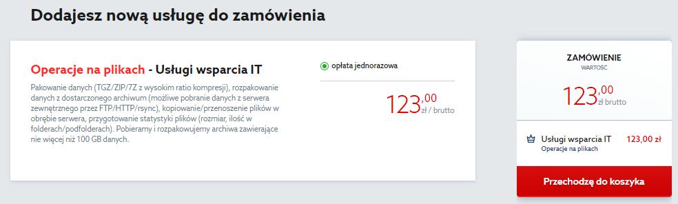 Kliknij przycisk: Przechodzę do koszyka, aby zamówić usługę operacji na plikach w home.pl.