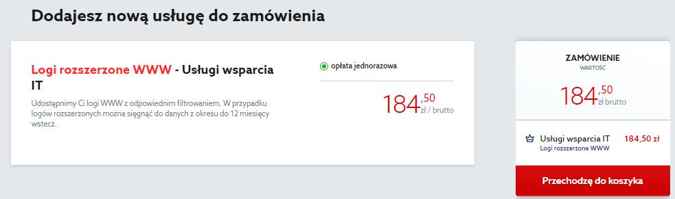 Kliknij przycisk: Przechodzę do koszyka, aby zamówić logi WWW dla serwera w home.pl.