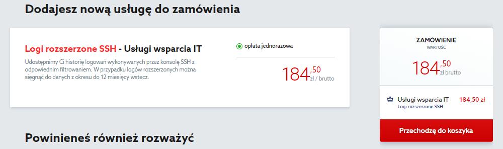 Kliknij przycisk: Przechodzę do koszyka, aby zamówić logi SSH dla serwera w home.pl.