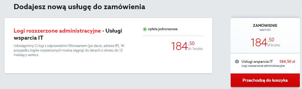 Kliknij przycisk: Przechodzę do koszyka, aby zamówić logi administracyjne dla serwera w home.pl.