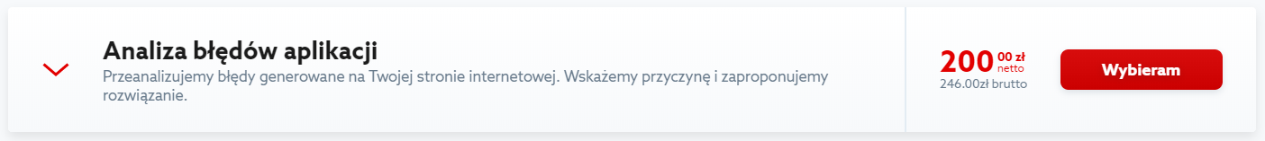 Kliknij przycisk: Wybieram, aby zamówić Analizę błędów aplikacji.