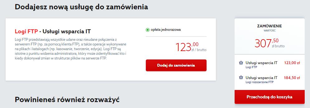 Kliknij przycisk: Przechodzę do koszyka, aby zamówić logi FTP dla serwera w home.pl.