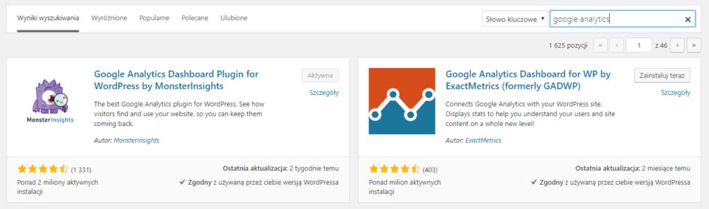 Aktywacja wtyczki Google Analytics Dashboard for WP