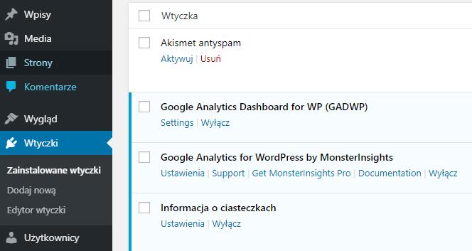 Przejdź do ustawień wtyczki Google Analytics Dashboard for WP