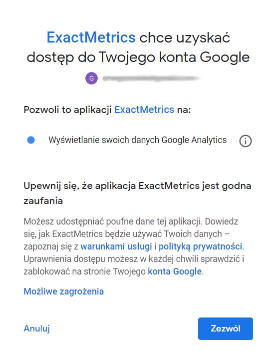 Autoryzacja wtyczki - uzyskiwanie dostępu do konta Google i Google Analytics