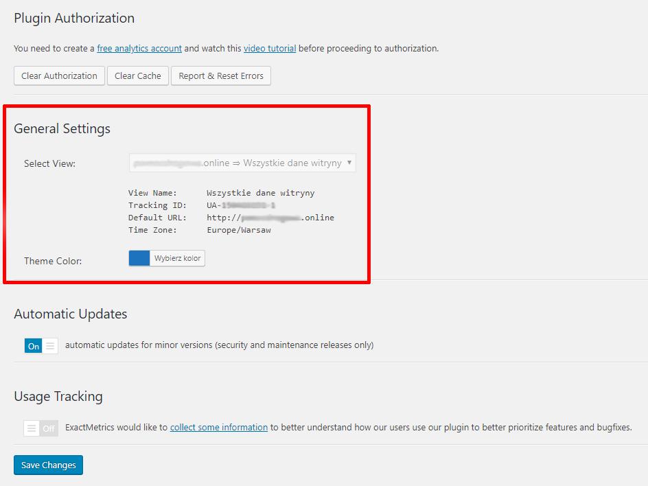 Wtyczka Google Analytics do analizowania ruchu na stronie - ustawienia pluginu