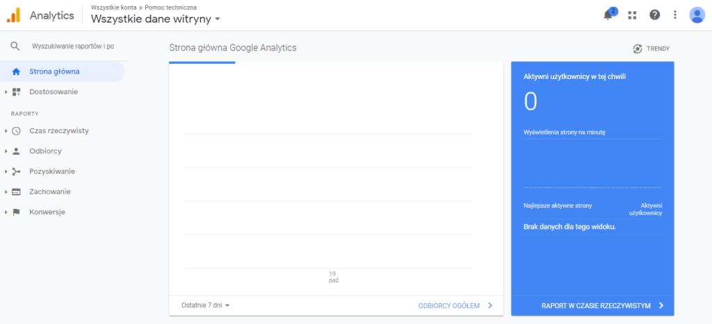 Panel administratora statystyk Google - widok statystyk w czasie rzeczywistym