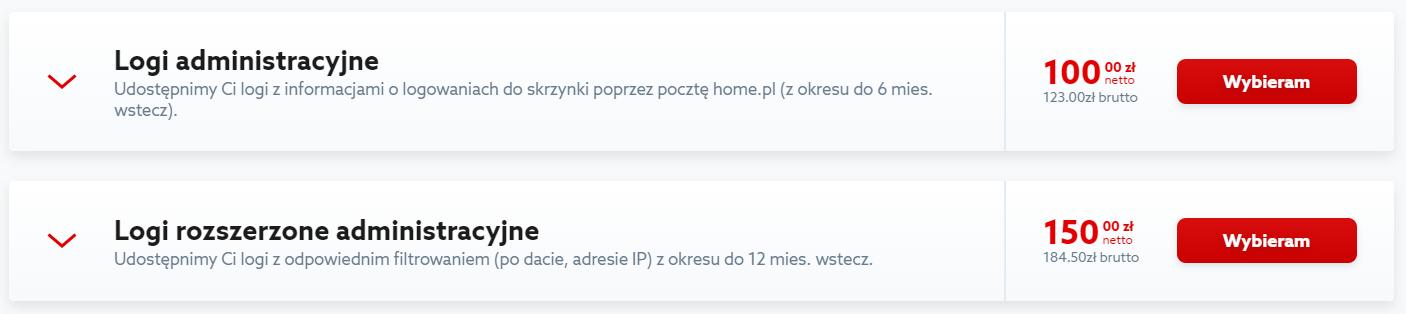 Kliknij przycisk: Wybieram, aby zamówić logi administracyjne w home.pl.