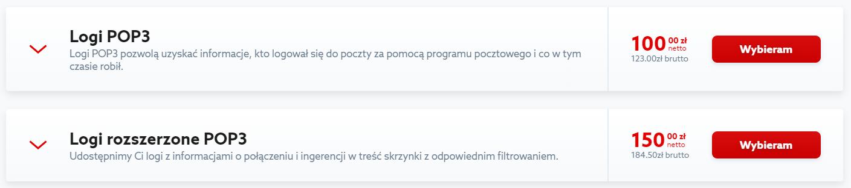 Kliknij przycisk: Wybieram, aby zamówić logi POP3 w home.pl.