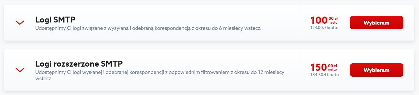 Kliknij przycisk: Wybieram, aby zamówić wybrany typ logów SMTP.
