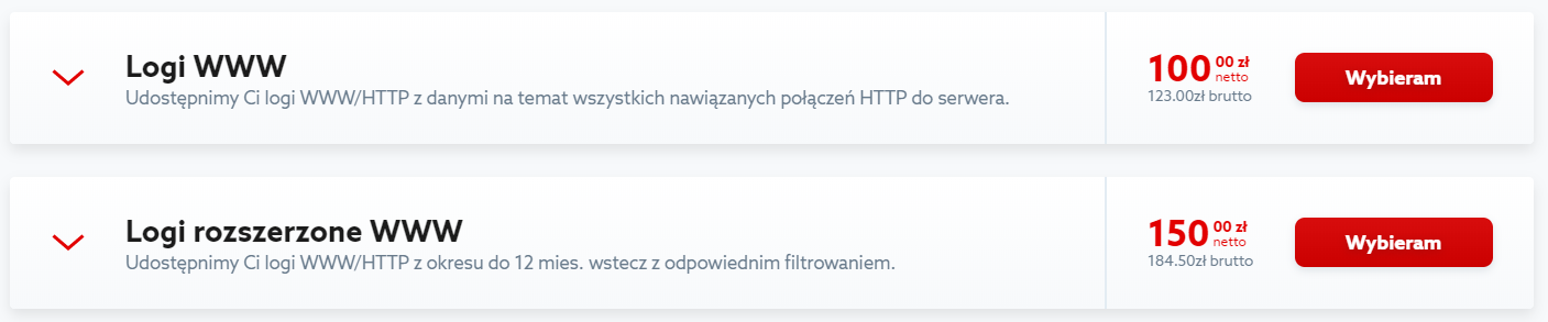 Kliknij przycisk: Wybieram, aby zamówić logi WWW dla serwera w home.pl.