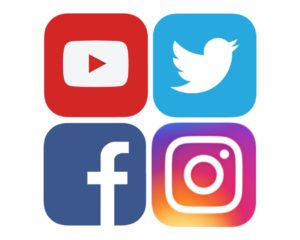 Twitter, Facebook, YouTube, Instagram