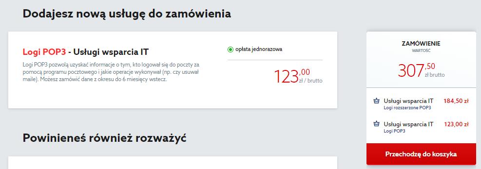 Aby zamówić logi POP3 w home.pl, kliknij przycisk: Przechodzę do koszyka.