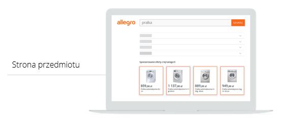 Gdzie na stronie przedmiotu lub aukcji wyświetlają się reklamy Allegro Ads?