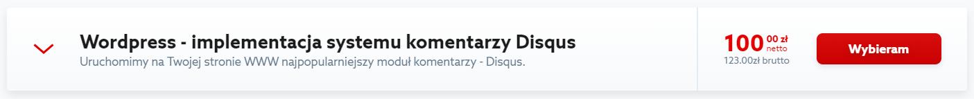 Kliknij przycisk: Wybieram, aby zamówić wdrożenie komentarzy Disqus w Twoim WordPressie.