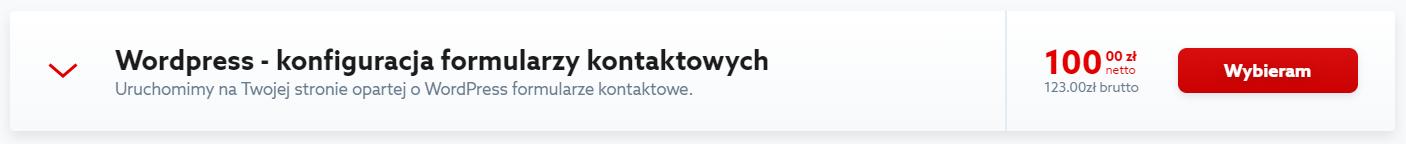 Formularz kontaktowy WordPress - kliknij przycisk: Wybieram, aby zamówić usługę.