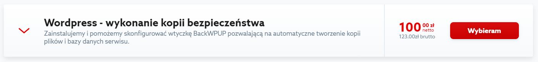 Kliknij przycisk: Wybieram, aby przejść do zamówienia usługi: kopia zapasowa WordPress.