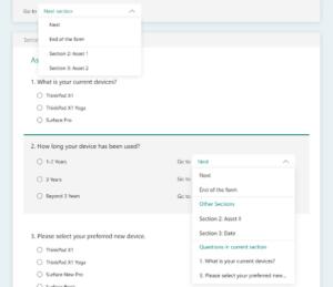 nowe opcje rozgałęziania w Microsoft Forms