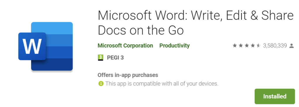 Word Android w Google Play