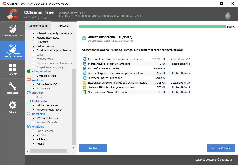 CCleaner umożliwia analizę plików i programów znajdujących się na komputerze.