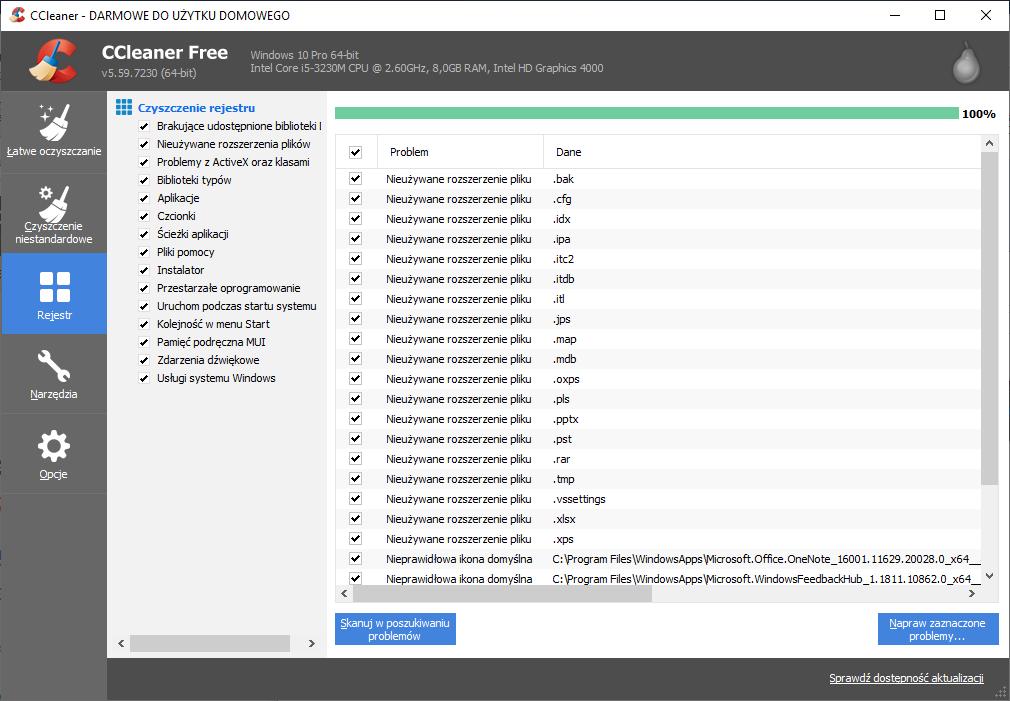 Za pomocą funkcji Rejestr możesz uporządkować oraz naprawić rejestr systemu Windows.