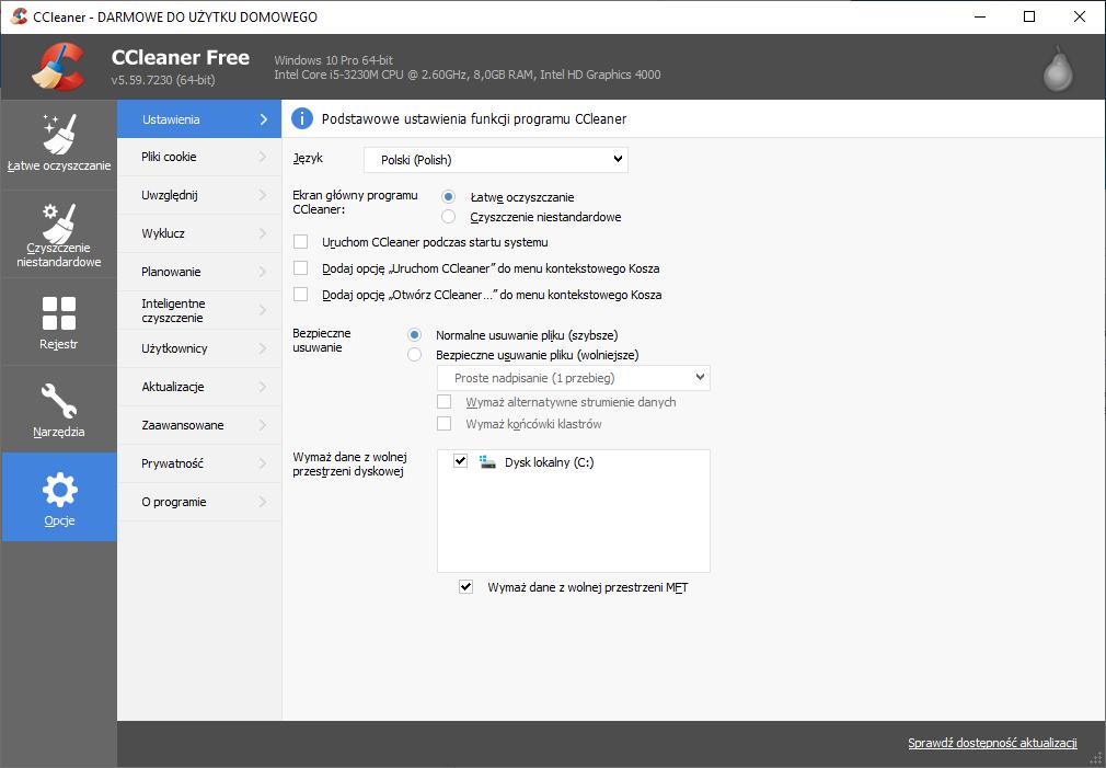 CCleaner umożliwia personalizowanie ustawień czyszczenia i optymalizacji komputera.