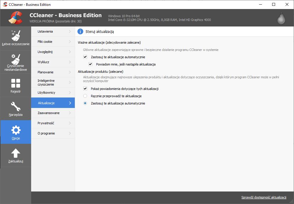 Pierwszą różnicą w funkcjonalności obu wersji jest automatyczne aktualizowanie aplikacji CCleaner Business.