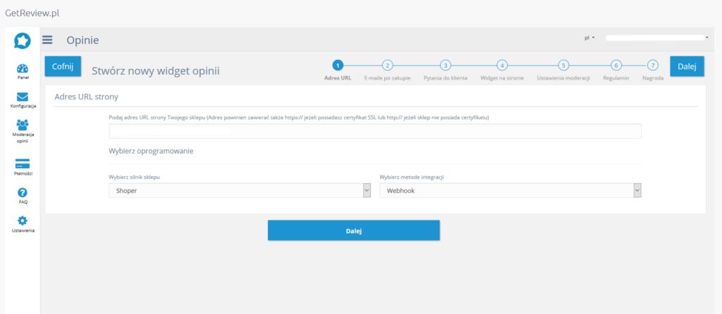 Getreview - konfiguracja w eSklep - wybierz silnik sklepu