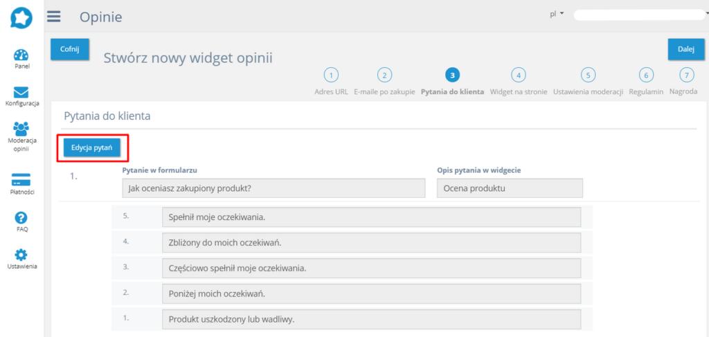 Getreview - zmiana ustawień aplikacji w eSklep home.pl - edycja pytań.