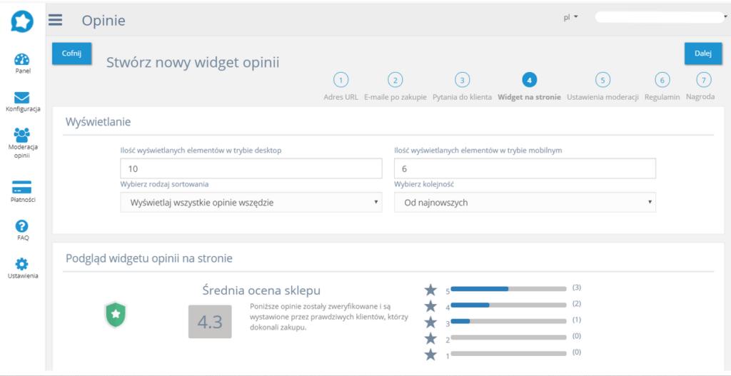 Zbieraj opinie - zmiana ustawień aplikacji w eSklep home.pl