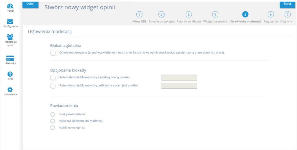 Opinie o sklepie - konfiguracja aplikacji w sklepie home.pl - zasady moderowania.