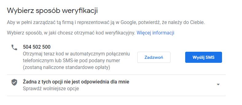 Google Moja Firma - wybierz sposób weryfikacji firmy, aby móc nią zarządzać.