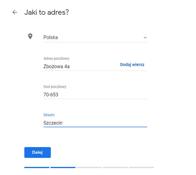 Dodaj adres swojej firmy do Google, aby można było wyznaczyć trasę dojazdu.