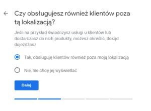 Google Moja Firma - Panel dodawania firmy