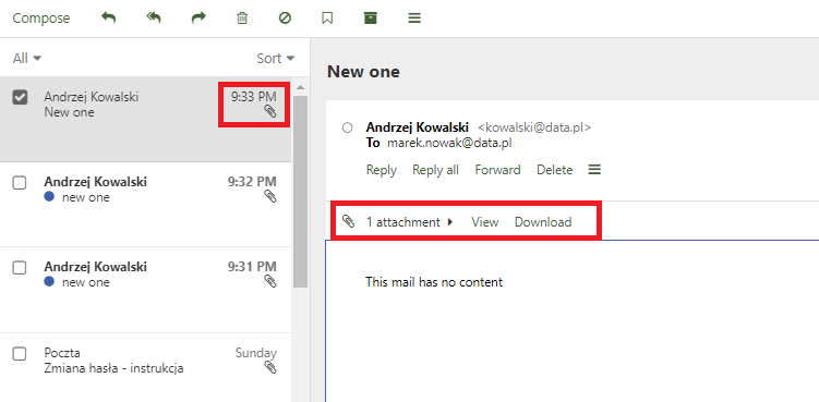 How to view and download e-mail attachments?