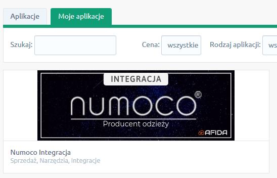 W oknie: Moje aplikacje wybierz aplikację: Numoco Integracja.