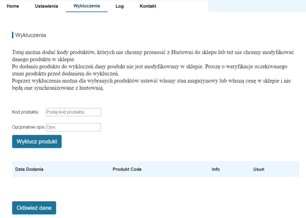 Integracja z Numoco pozwala również na zastosowanie wykluczeń dla produktów.