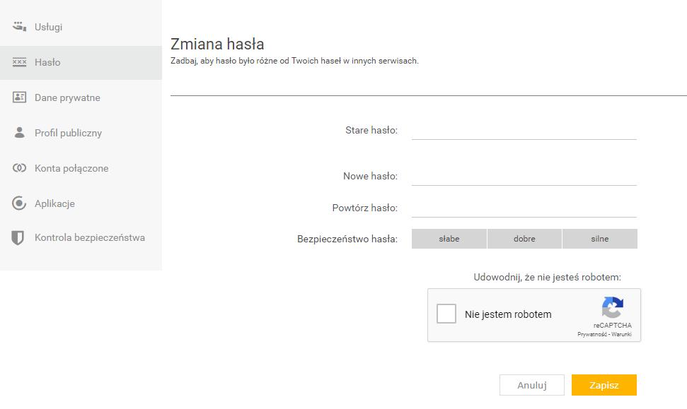 Zmiana hasła do skrzynki e-mail w Onet.pl - wskaż obecne i nowe hasło dostępu.