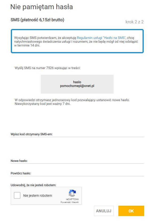 Zmiana hasła do skrzynki pocztowej w Onet.pl za pomocą płatnego SMS.