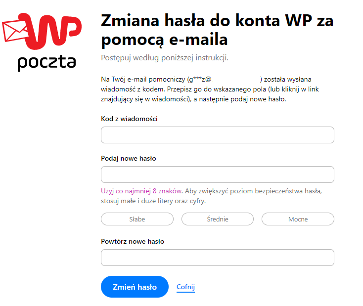 Zmiana hasła do konta WP za pomocą e-maila.
