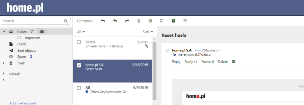 How to replay an e-mail?