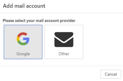 Jeśli chcesz dodać konto Google jako konto zewnętrzne, wybierz opcję: Google.