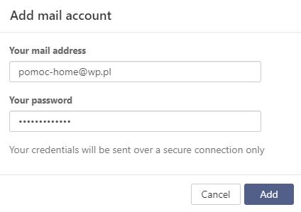 Konto zewnętrzne w Poczcie home.pl - wpisz adres e-mail i hasło dostępu dla konta zewnętrznego.