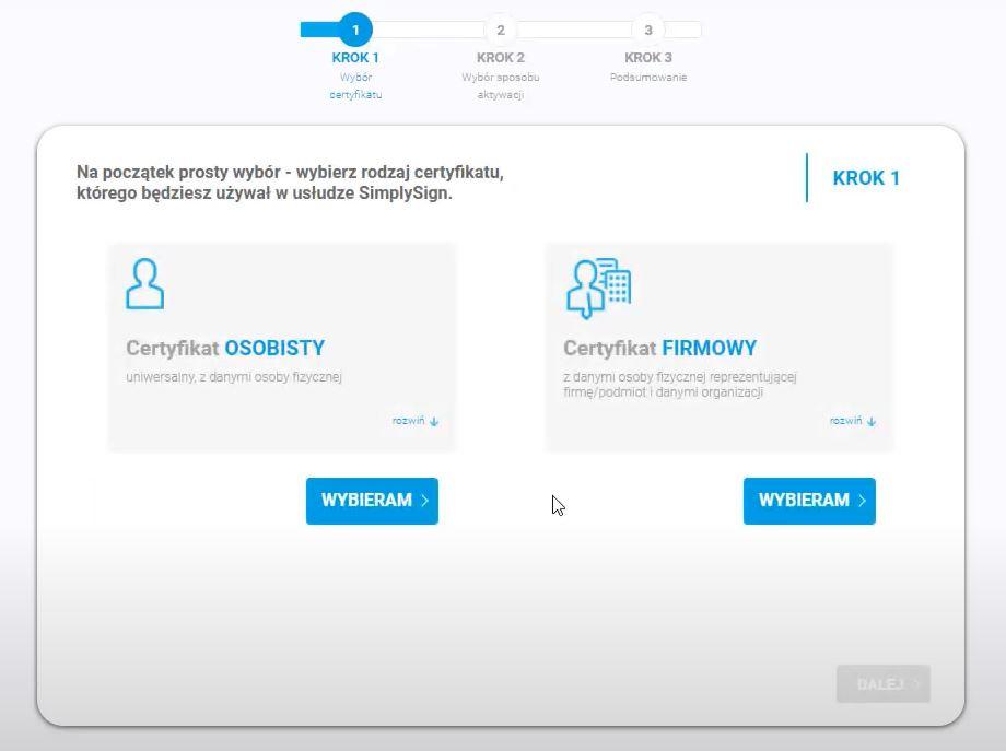 Wybierz certyfikat osobisty lub certyfikat firmowy aktywując podpis mobilny SimplySign