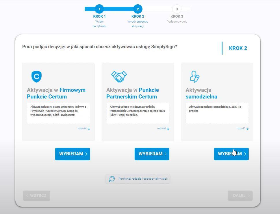 Wybierz sposób, w jaki potwierdzisz swoją tożsamość do wydania podpisu mobilnego SimplySign